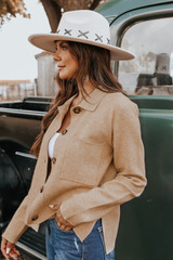 Button Down Heather Taupe Collared Cardigan