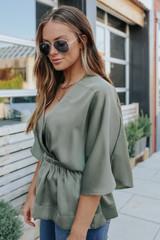 Surplice Olive Satin Kimono Blouse