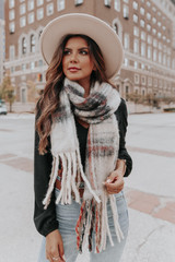 Bellefontaine Taupe Plaid Cozy Scarf