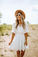 Crochet Detail Button Down Dotted Dress - White