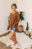 V-Neck Seam Detail Waffle Sweater - Copper