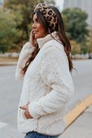 Two Tone Tan Half Zip Sherpa Pullover