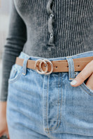 Fifth Avenue Double O Ring Taupe Belt