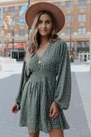 V-Neck Smocked Waist Printed Dress