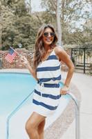 V-Neck Drawstring Navy Wide Stripe Dress