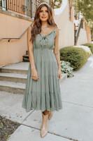 V-Neck Olive Tiered Midi Dress
