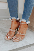 Faux Suede Strappy Knotted Taupe Heels