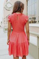 Ruffle Sleeve Smocked Coral Crinkle Dress