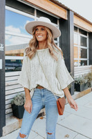 3/4 Sleeve Taupe Ribbed Beach Sweater