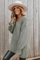 V-Neck Seam Detail Sage Boucle Sweater