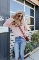 Moonlight Mock Neck Pink Chenille Sweater