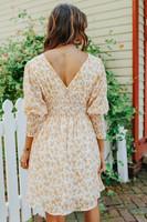 V-Neck Smocked Waist Yellow Floral Dress