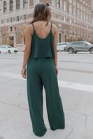Wonderstruck Tie Waist Green Crinkle Jumpsuit