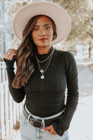 Free People Tell Me About It Black Bodysuit