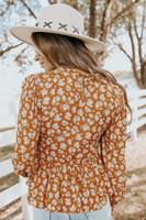 V-Neck Smocked Rust Floral Peplum Blouse