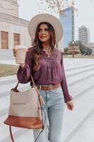 V-Neck Crochet Lace Purple Blouse