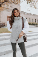 Turtleneck Grey Cable Sweater Shirt Combo