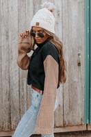 Turtleneck Contrast Black/Mocha Sweater