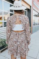 Open Back Ruffle Mocha Floral Dress