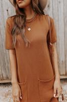 Short Sleeve Camel Sweater Dress