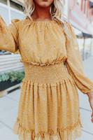 Daylight Smocked Waist Mustard Floral Dress