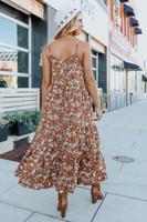 Button Detail Brown Floral Midi Dress