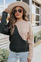 Mock Neck Colorblock Split Ribbed Sweater