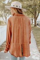 Ember Vintage Wash Terracotta Frayed Shirt