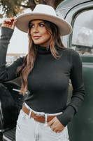 Romantic Fable Turtleneck Black Ribbed Sweater