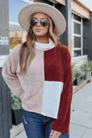 Mock Neck Autumn Colorblock Chenille Sweater