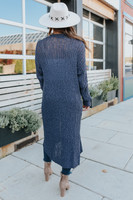 Open Front Navy Ribbed Duster Cardigan