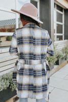 Double Breasted Tie Waist Navy Plaid Coat