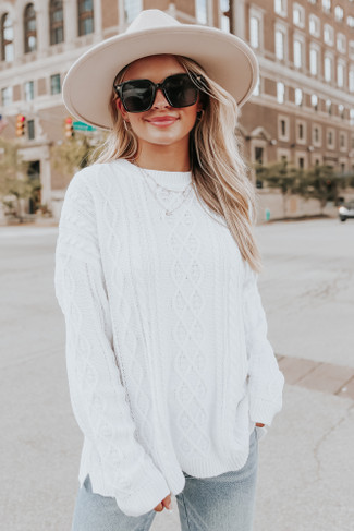 Aspen Highlands Cable Knit White Sweater - FINAL SALE