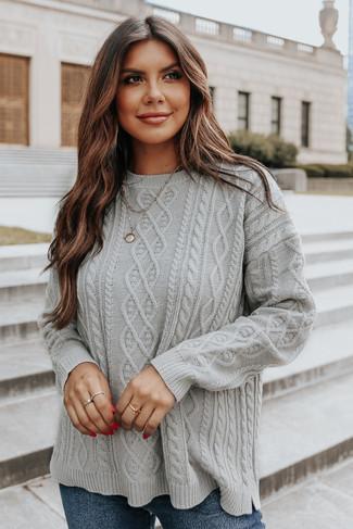 Aspen Highlands Cable Knit Grey Sweater - FINAL SALE