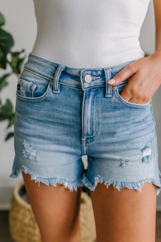 Seaport Distressed Medium Wash Shorts