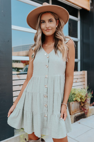 Button Down Light Olive Dotted Dress - FINAL SALE