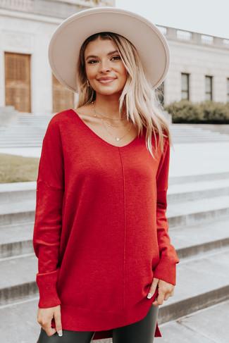 V-Neck Seam Detail Scarlet High Low Sweater - FINAL SALE