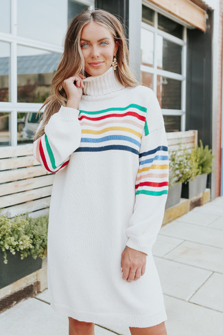 Turtleneck Rainbow Stripe Sweater Dress - FINAL SALE