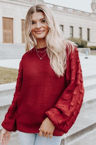 Best Match Textured Sleeve Burgundy Sweater