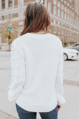 Best Match Textured Sleeve Ivory Sweater - FINAL SALE