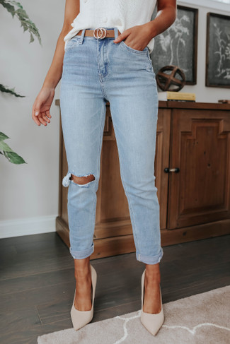 Carefree Distressed Light Wash Straight Jeans