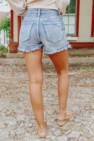 Surfs Up Faded Medium Wash Denim Shorts - FINAL SALE