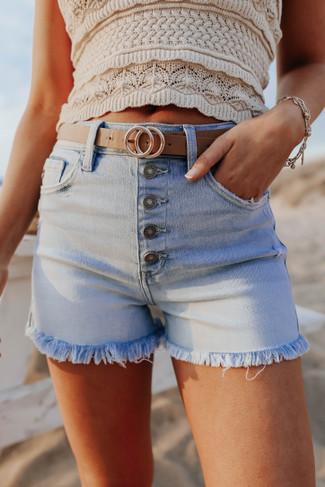 5-Button Light Wash Denim Shorts - FINAL SALE