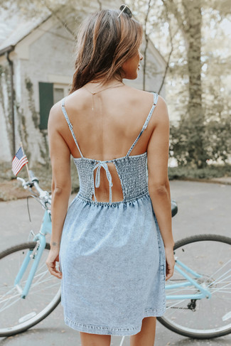 V-Neck Vintage Wash Pleated Denim Dress - FINAL SALE