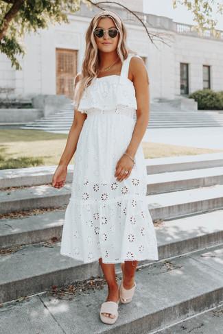 Tie Strap White Eyelet Midi Dress - FINAL SALE