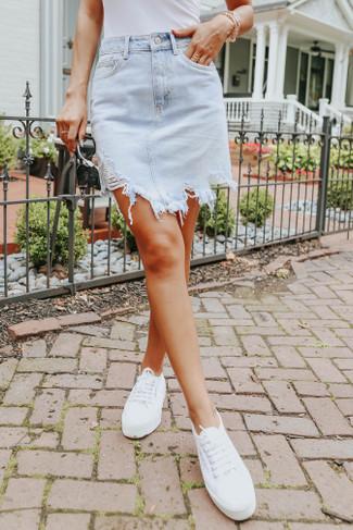 Amabella Distressed Light Wash Denim Skirt - FINAL SALE