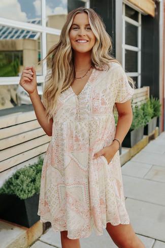 Short Sleeve Mixed Print Babydoll Dress - FINAL SALE