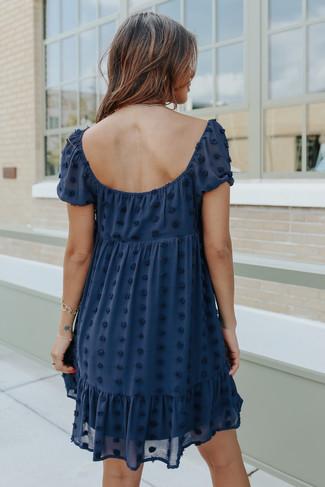 Square Neck Puff Sleeve Navy Pom Dress - FINAL SALE