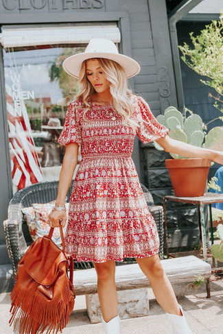Short Sleeve Smocked Brick Mixed Print Dress - FINAL SALE