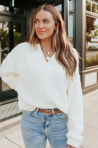 Natasha V-Neck Ivory Looped Sweater - FINAL SALE